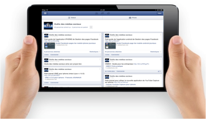 ipad ecran  pages facebook