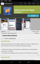 Ecran d'installation de l'application Gestion des pages Facebook