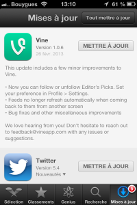 Ecran Iphone Vine version 1.0.6
